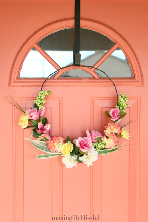 Beautiful Floral Wreath made from Dollar Store items!