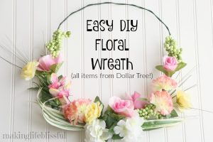 Easy Dollar Store Floral Wreath for Spring and Summer