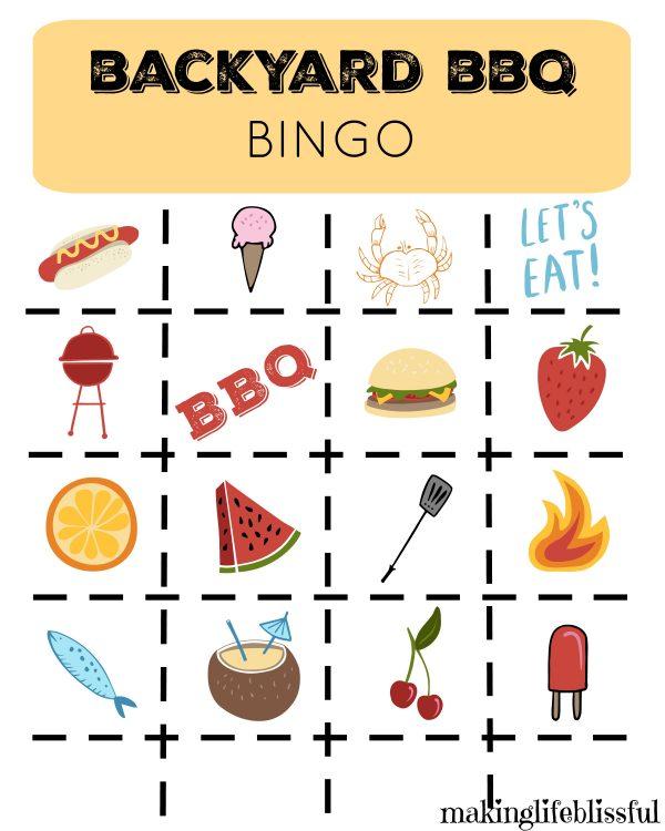 BBQ Bingo and Game Printables