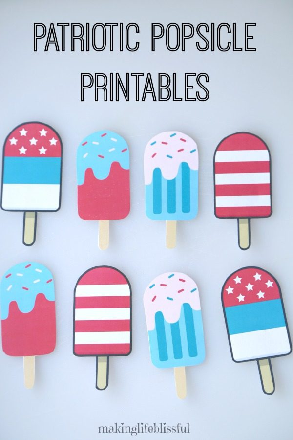 Printable Patriotic Popsicles