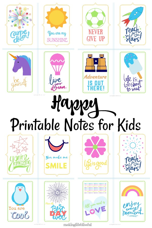 Positive Printable Notes for Kids