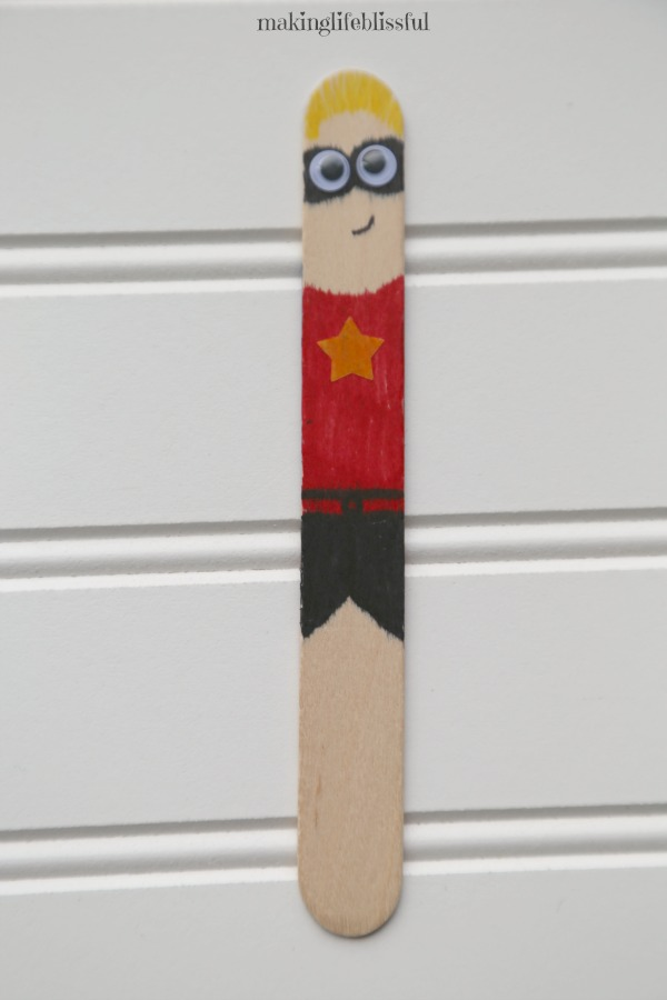 Incredibles Superhero Popsicle Stick Craft