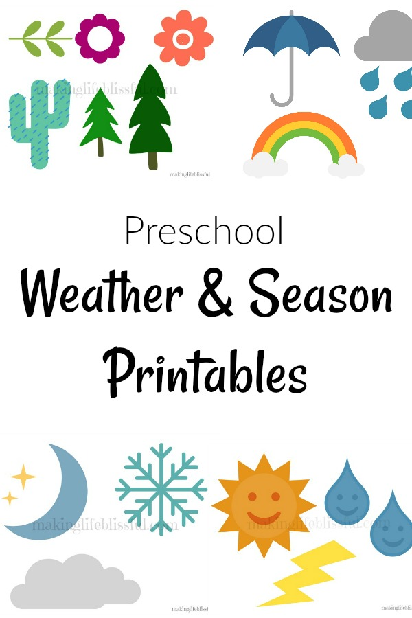 graphic relating to Printable Weather identified as Absolutely free Weather conditions and Seasons Preschool Printable Creating Daily life