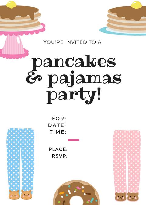 Free Pancakes & Pajamas Printable Invite