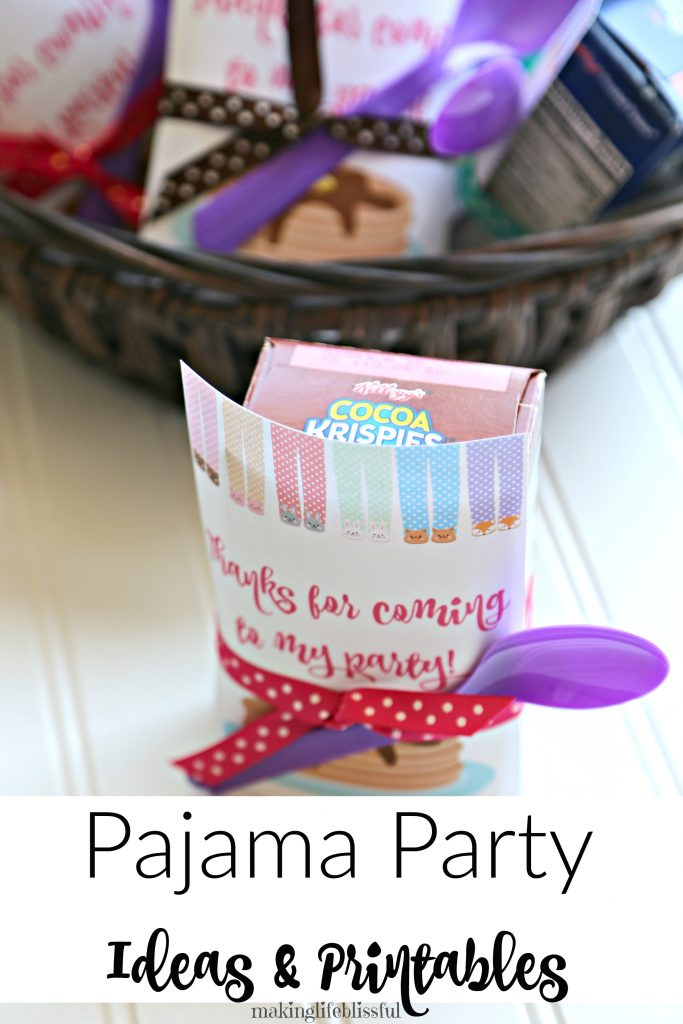 Pajama Party Favors and Printables