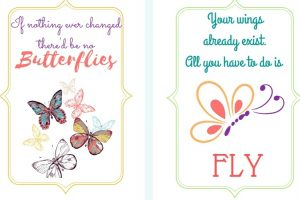 printable butterfly note cards