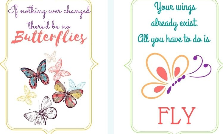 graphic about Quotes Printable called Absolutely free Printable Butterfly Notice Playing cards Creating Daily life Blissful