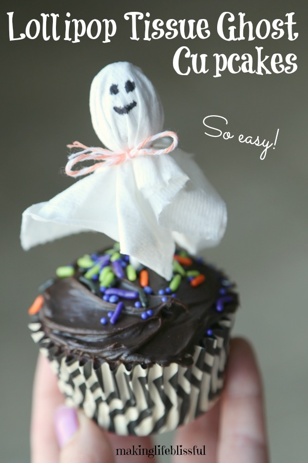 Tissue Ghost Cupcakes for kids to make!