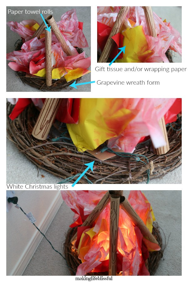 How to make an indoor campfire for kids! So fun!!