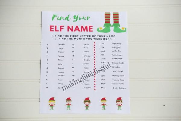 Free Printable elf name game for Christmas!