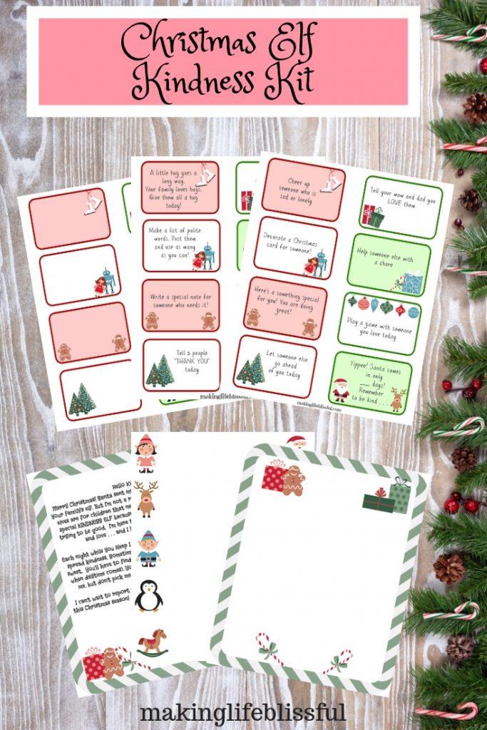 Printable elf kindness cards for Christmas