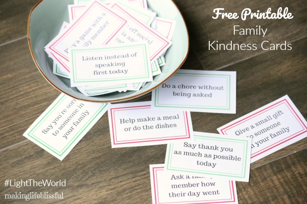 Free Printable Family Kindness Cards for Christmas