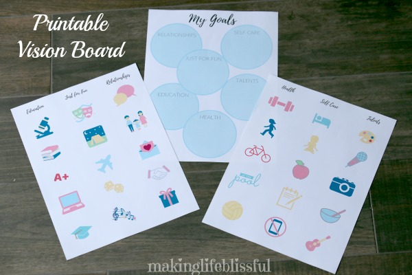 Goal Making Tips with Free Printable Vision Board