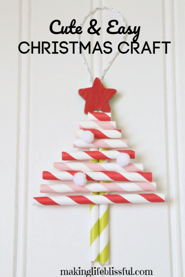 Christmas-tree-Straw-Craft