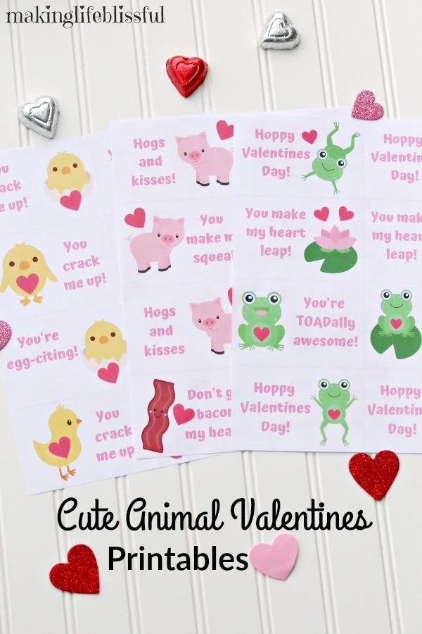 Cute Animal Valentine Printables