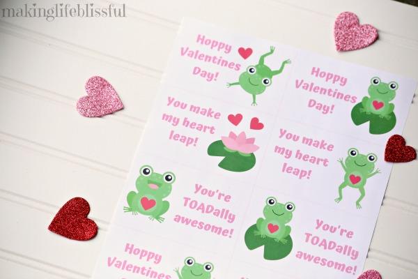 Printable frog Valentines