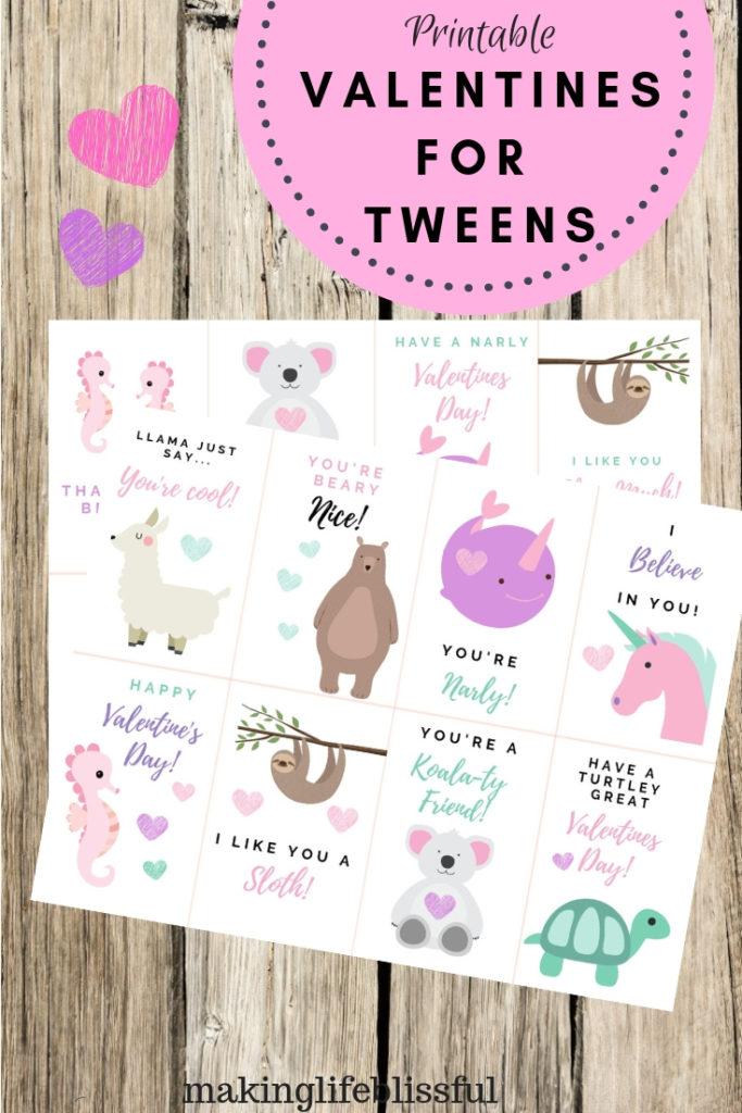 Printabel Valentines for Tweens