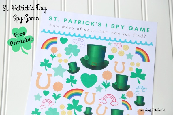 Free Printable St. Patrick's I Spy Game