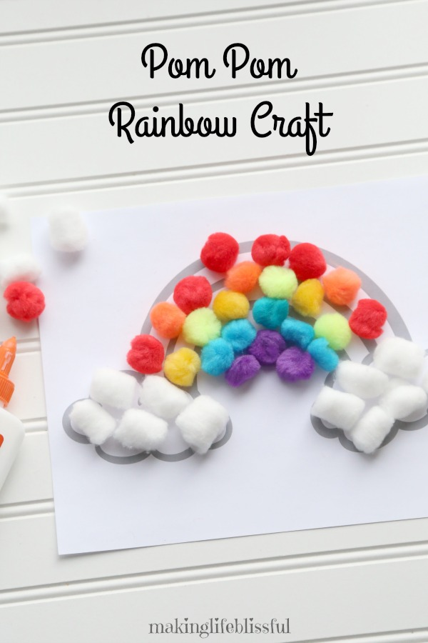 Pom Pom Rainbow Craft for Kids