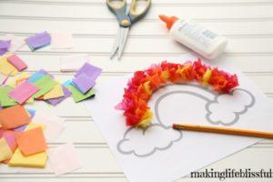 Tissue Paper Rainbow Craft for Kids