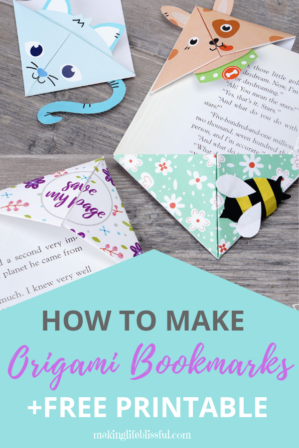 How to make cute origami bookmarks for kids plus printables