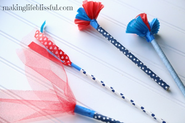 Fun to make parade wands for the 4th of July