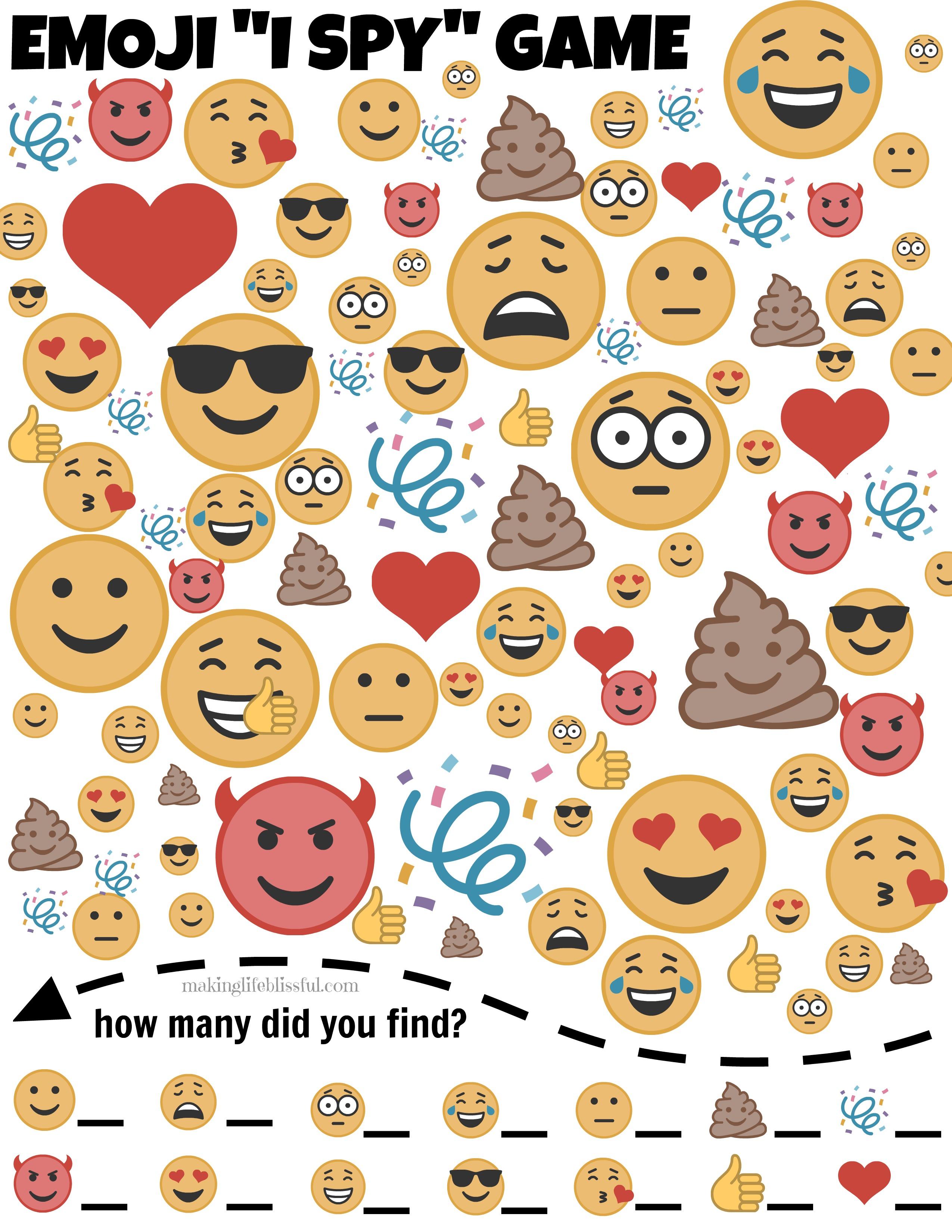 Emoji I Spy Printable Game