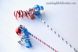Paper straw and curling ribbon 4th of July spirit wand craft