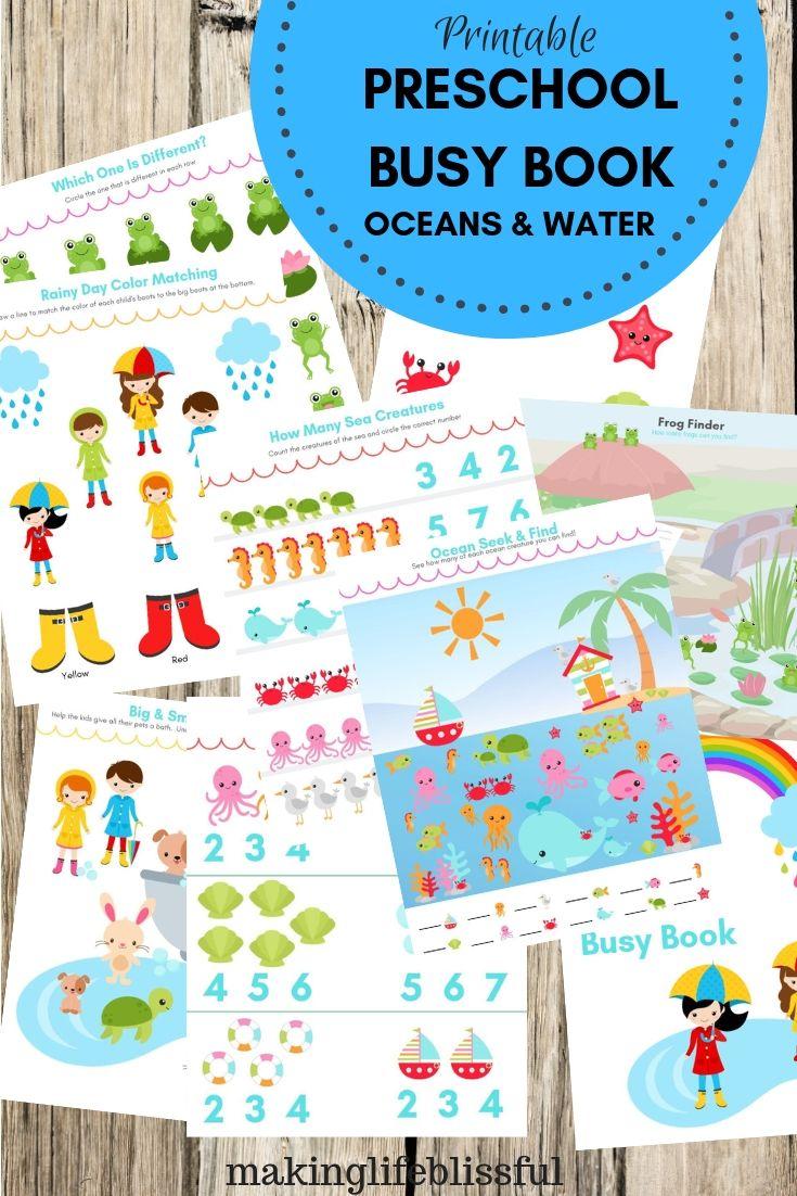 Ocean Water Preschool Printables Image 1