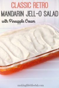 Classic RETRO Orange Jell-O Salad with Pineapple Cream Topping