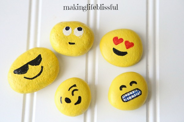 Painted rock ideas to teach kids, emoji painted rocks