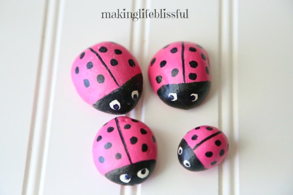 Ladybug Painted Rocks for teaching kids