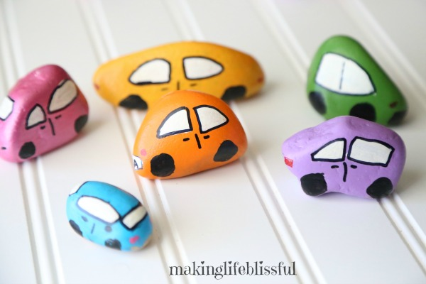 Fun painted rock cars for kids to make