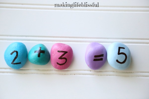 Use painted rocks to teach math to kids