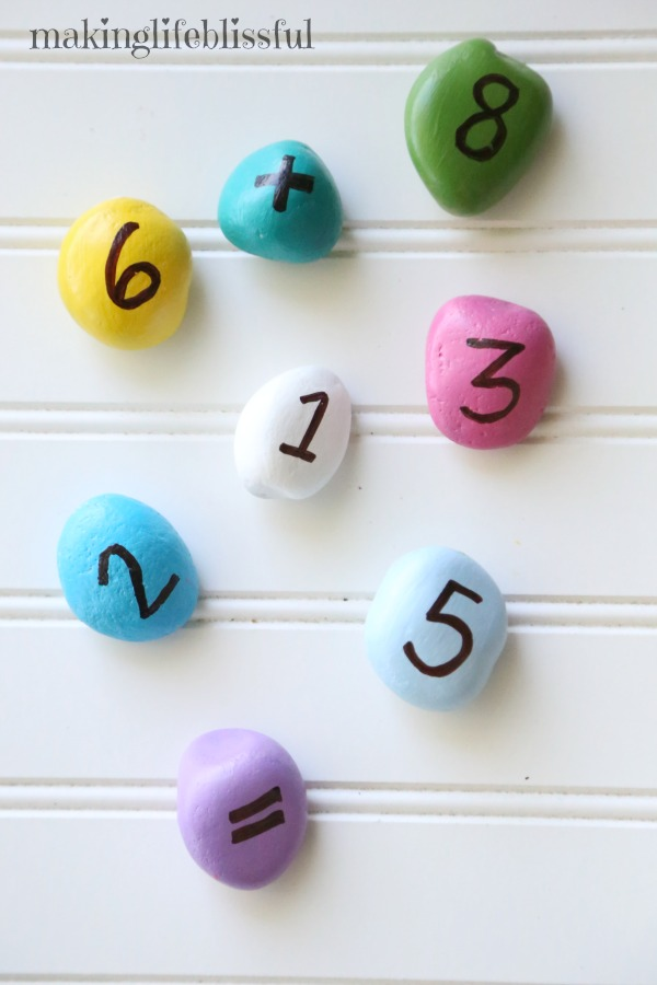 Teach kids numbers and math with painted rocks