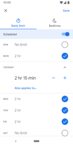 family link set screen time limits