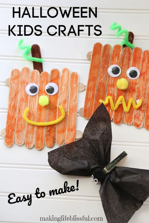 Easy Craft Stick Pumpkin and Clothespin Bat craft