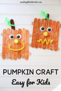 Craft stick pumpkin for kids to make