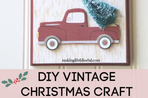 Vintage Truck Christmas Craft Plaque