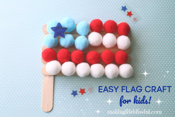 Pom Pom Flag Craft for Kids